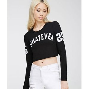 Forever 21 Whatever black long sleeve crop top